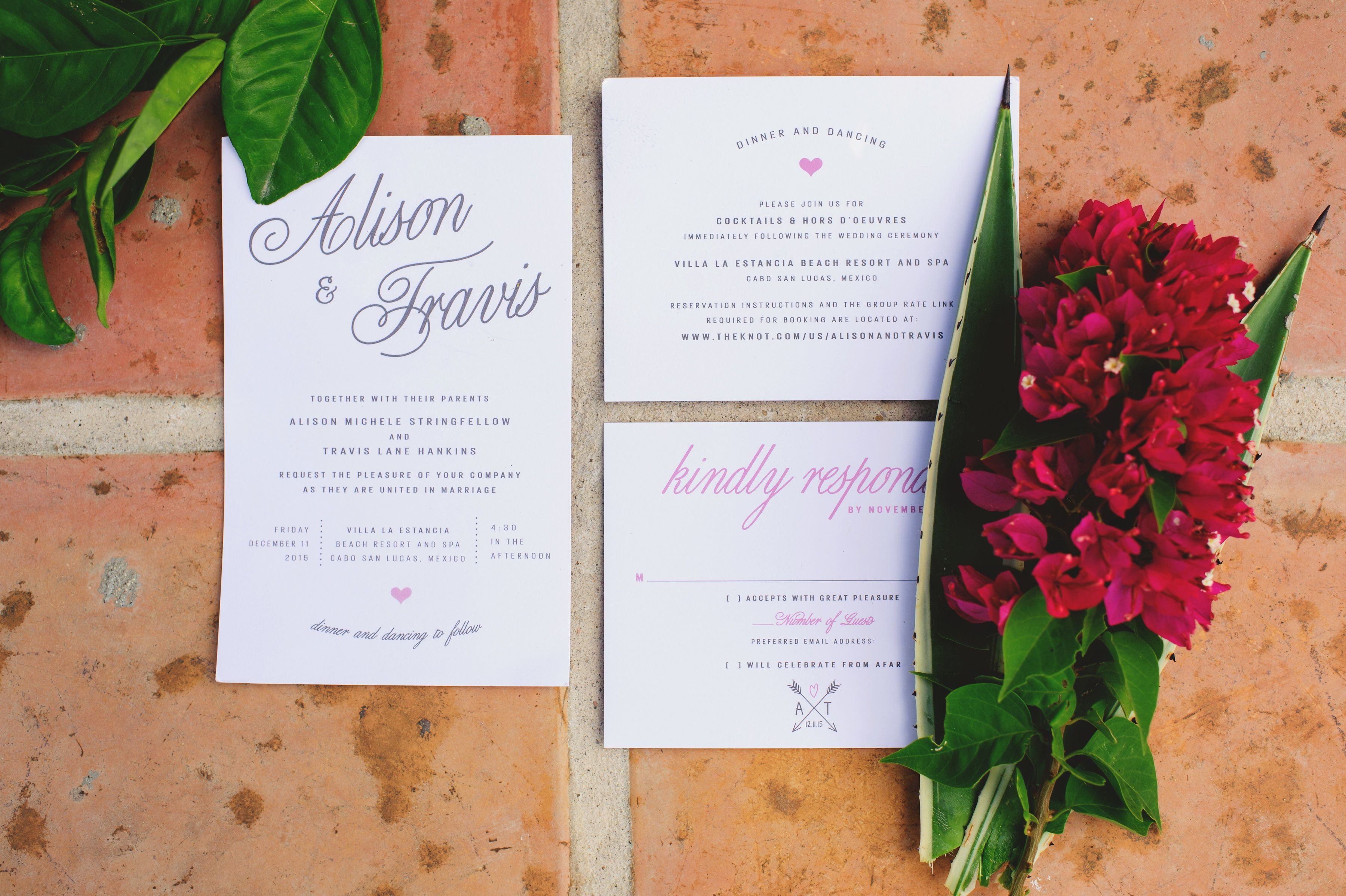 wedding invites design by Cabo Wedding Services
