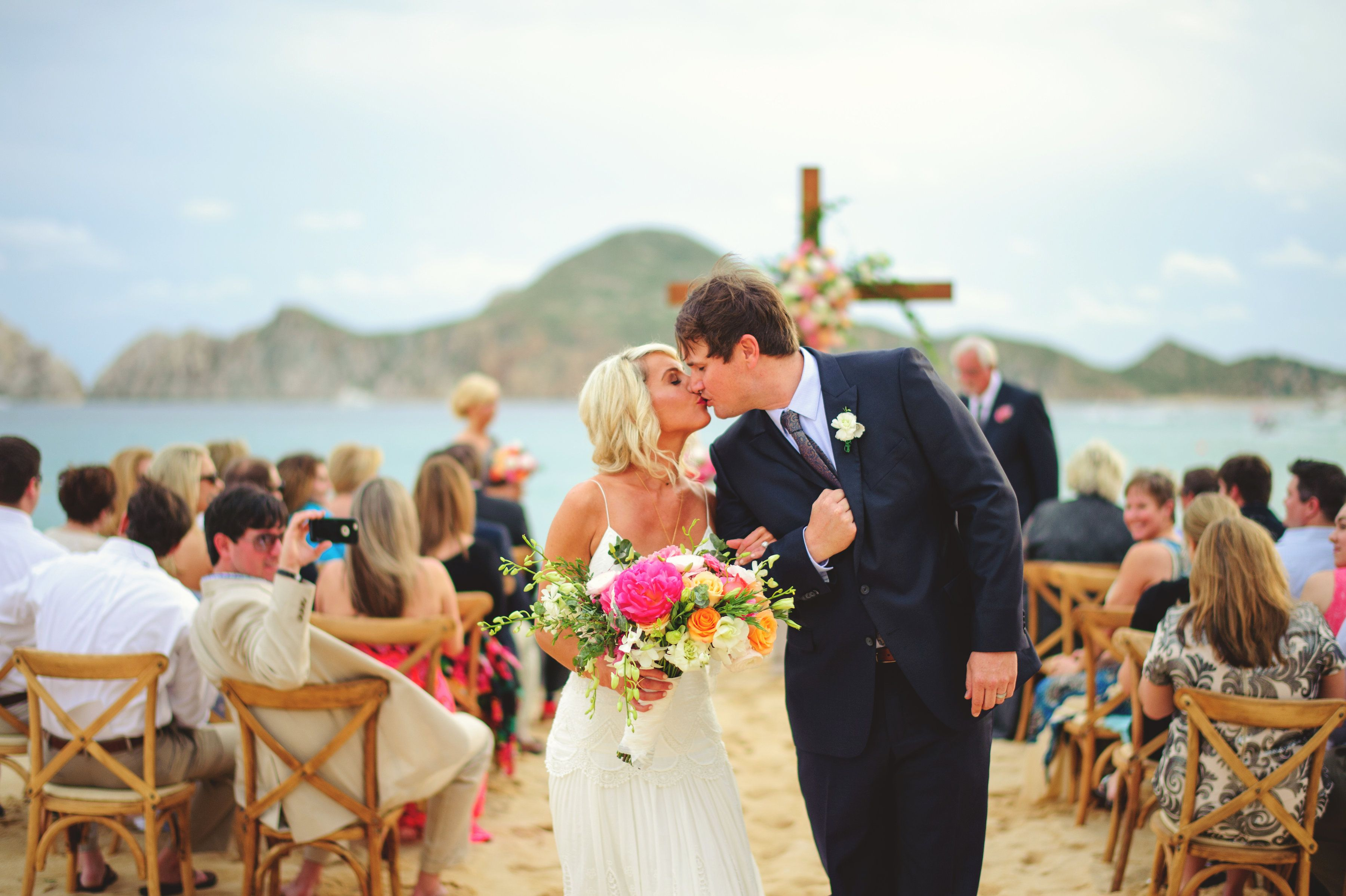 Just Married Newlyweds in Cabo San Lucas Ceremony Design by Jesse Wolff