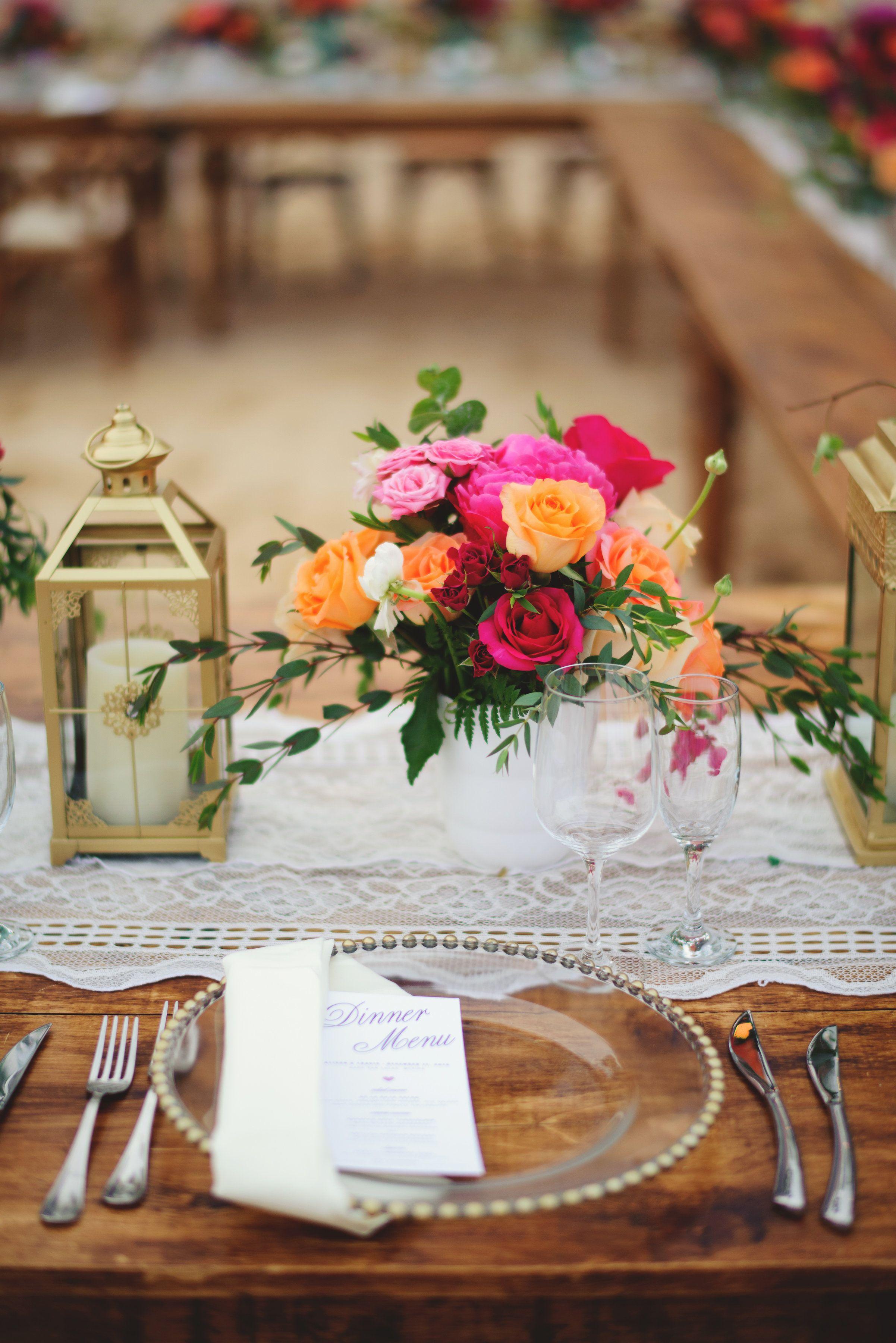 Reception Dinner Table setting at Villa la Estancia. Design by Cabo Wedding Services