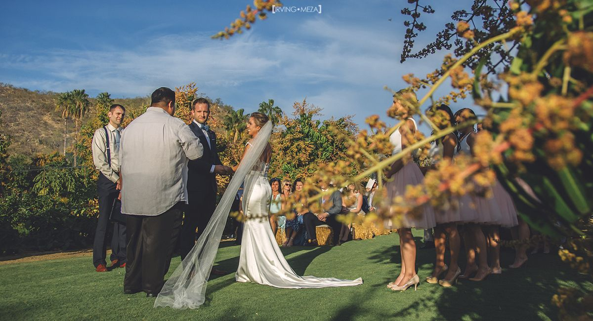 Bride and Groom at Wedding Ceremony in Flora Farms Cabo San Lucas Mexico