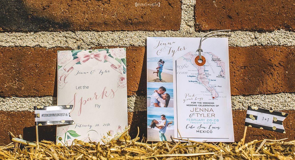 Wedding invites and design for Wedding in Cabo San Lucas Mexico at Flora Farms