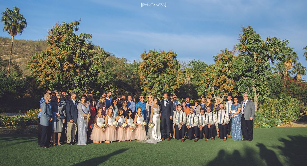 Wedding Ceremony at Flora Farms in Cabo San Lucas Mexico. This is a group photo