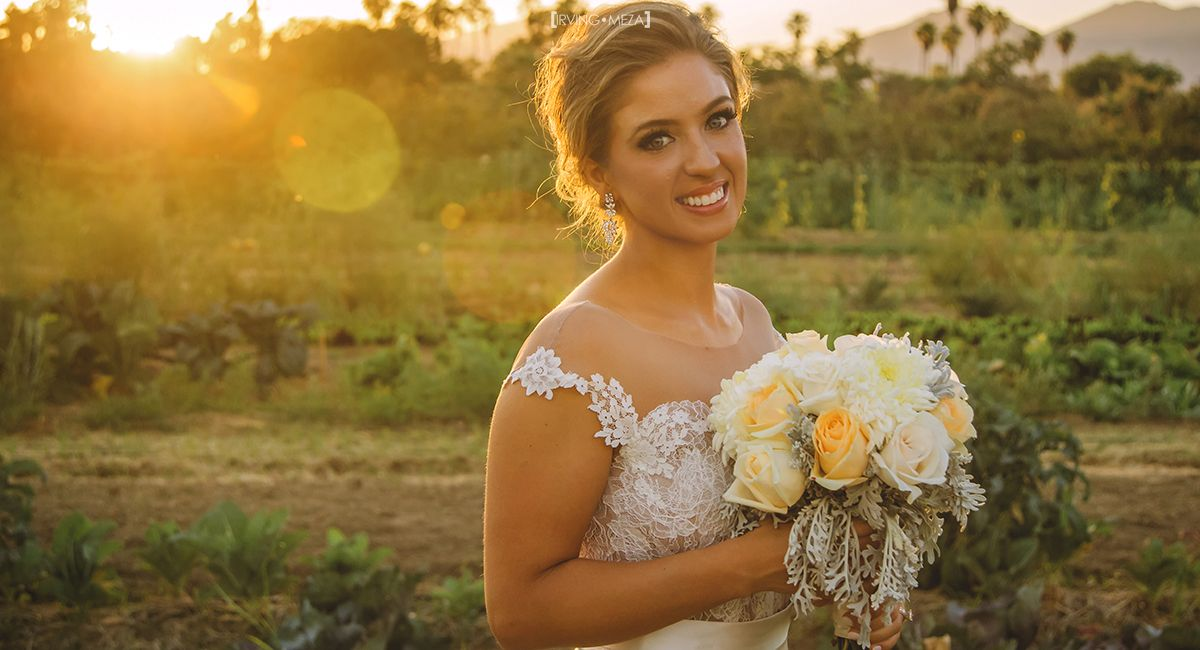 Bride Wedding Day portrait at Flora Farms in Cabo San Lucas Mexico
