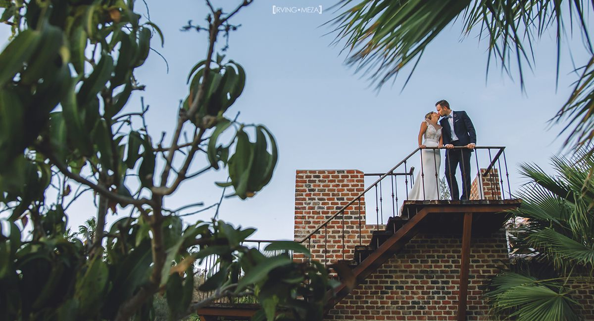 Bride and Groom Portrait on their Wedding day at Flora Farms in Cabo San Lucas Mexico