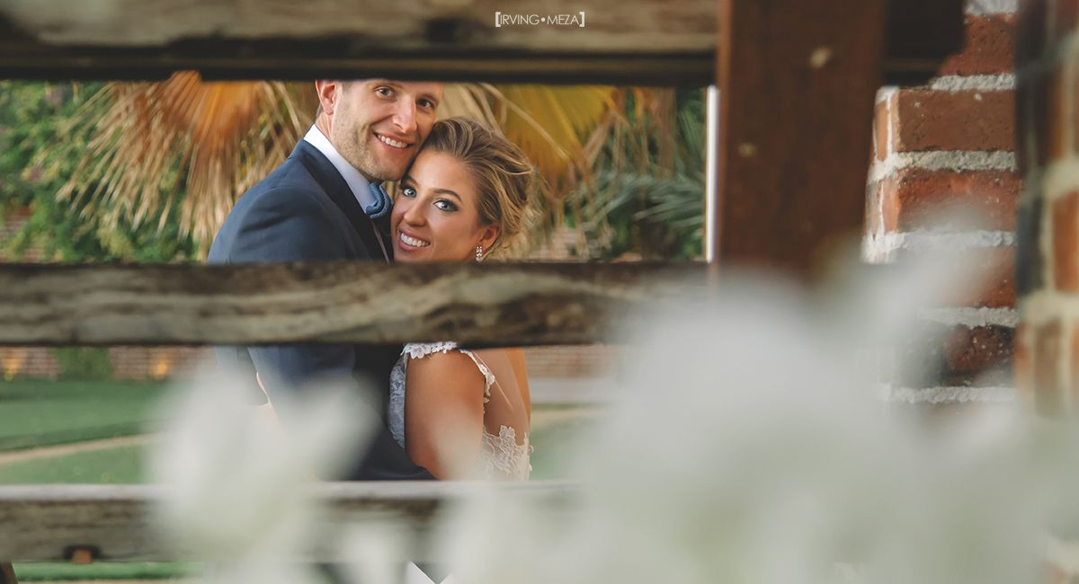 Bride and Groom Wedding Day Portrait at Flora Farms in Cabo San Lucas Mexico