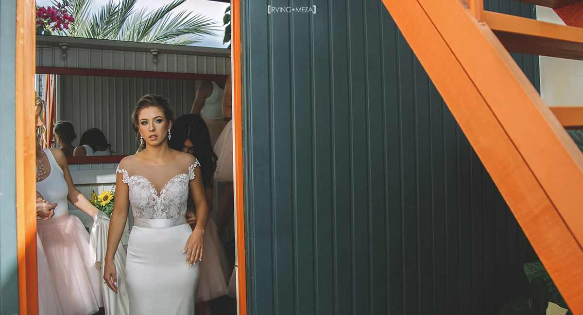 Bride ready to see her Groom at Wedding Venue Flora Garms in Cabo San Lucas