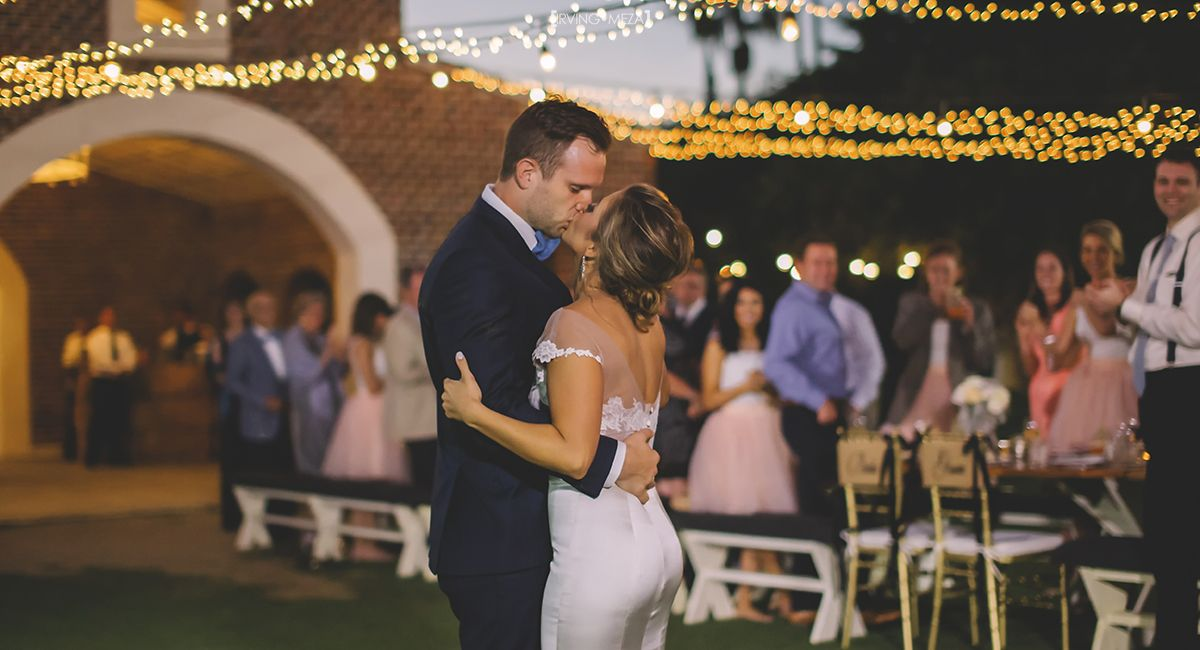 Wedding Day First Dance as Husband and Wife at Wedding Venue Flora Farms in Cabo San Lucas Mexico