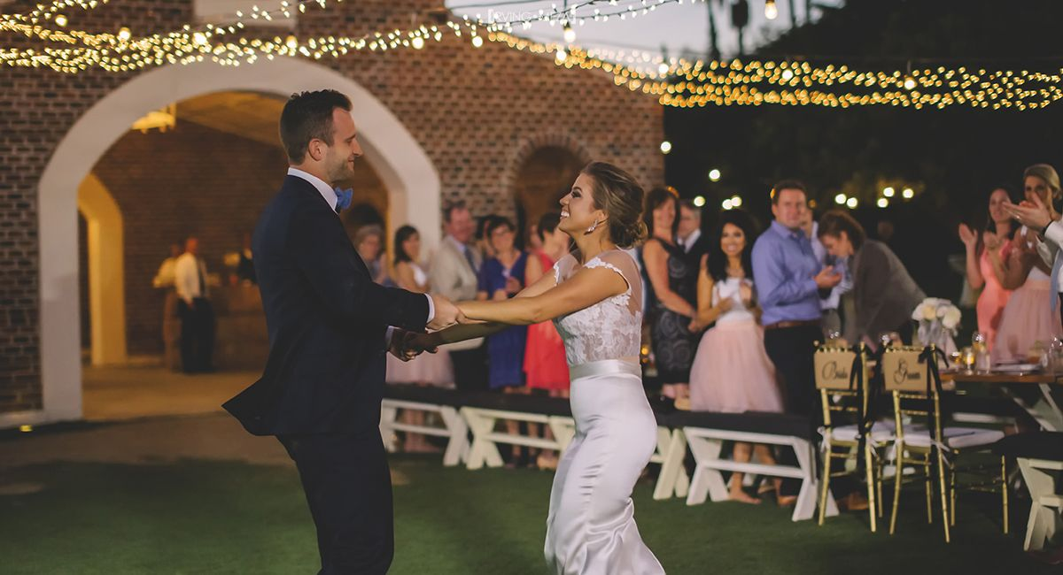 First Dance as Husband and Wife at Wedding Venue at Flora Farms in Cabo San Lucas Mexico