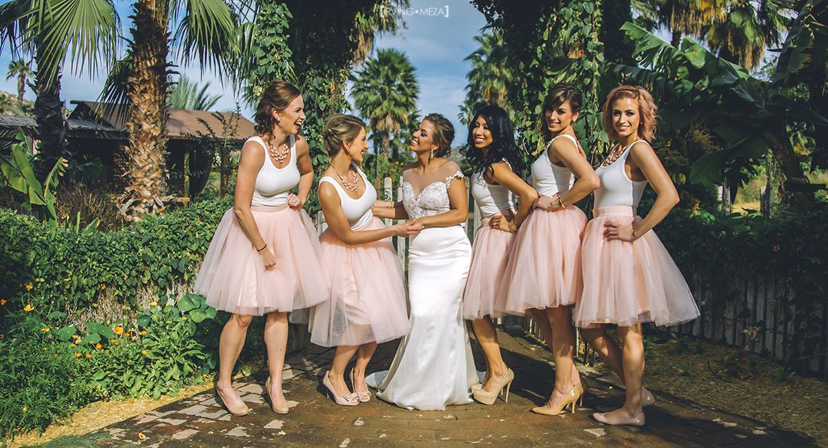 Bride with Bridesmaids at Wedding Venue at Flora Farms in Cabo San Lucas Mexico