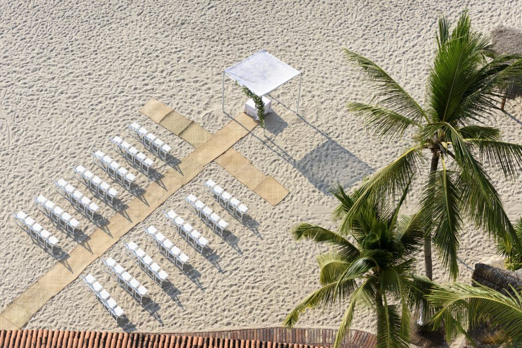 Ceremony setting before guests arrive at the Hyatt Ziva un Puerto Vallarta Mexico