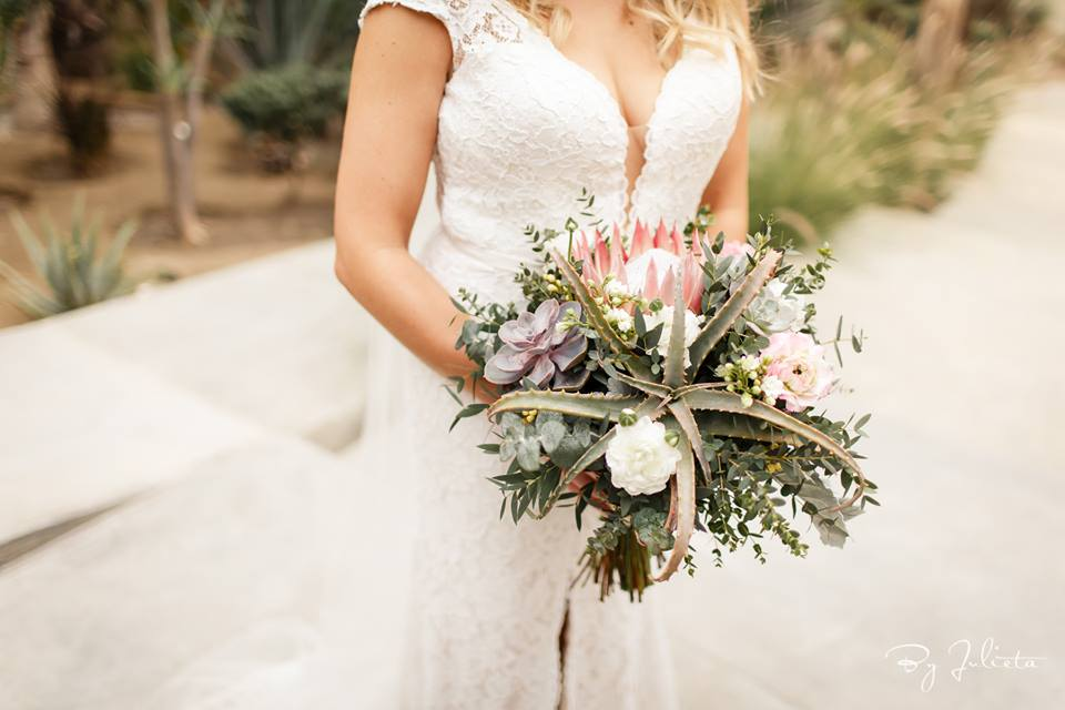 Bridal Bouquet at Destination Wedding in Cabo San Lucas at Wedding Venue at Acre Baja