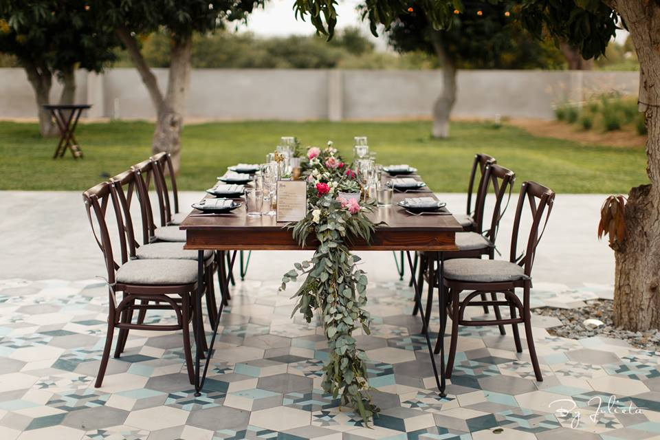 Reception Dinner Table designed by Jesse Wolff and coordination services by Cabo Wedding Services