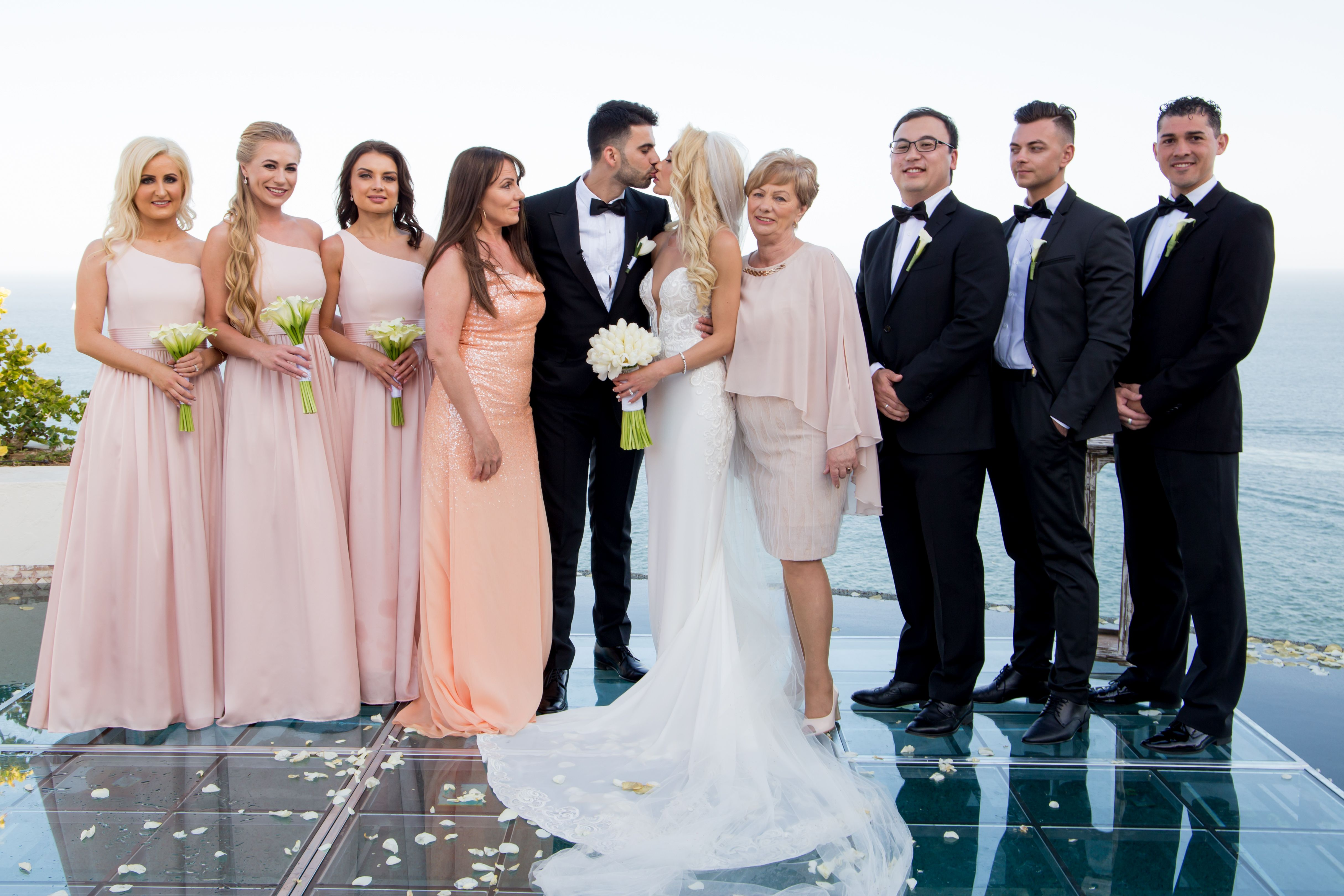Bridal Party photo session after Wedding Ceremony at Villa la Roca Pedregal Los Cabos