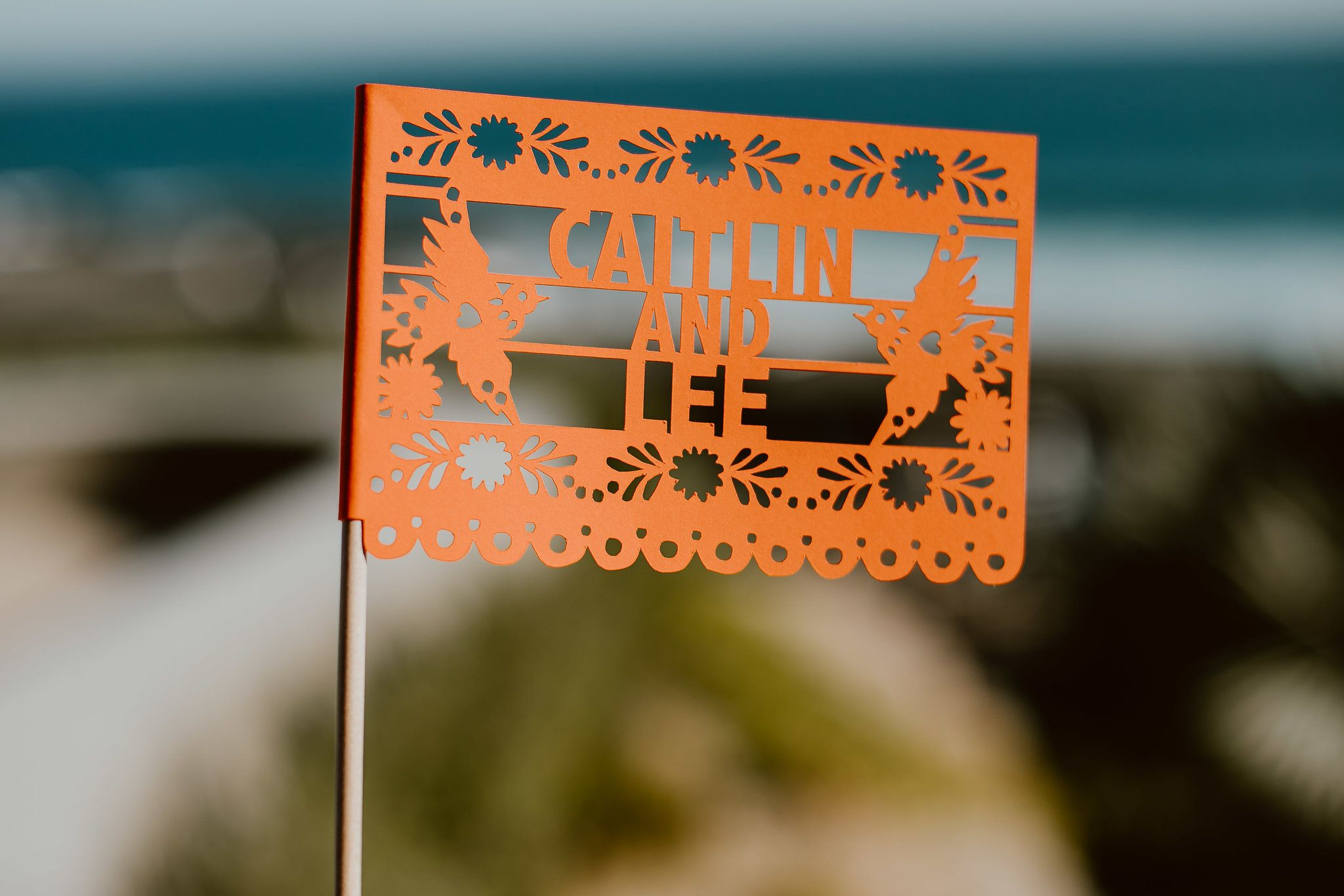 Wedding Details with Papel Picado personalized for the Bride and Groom
