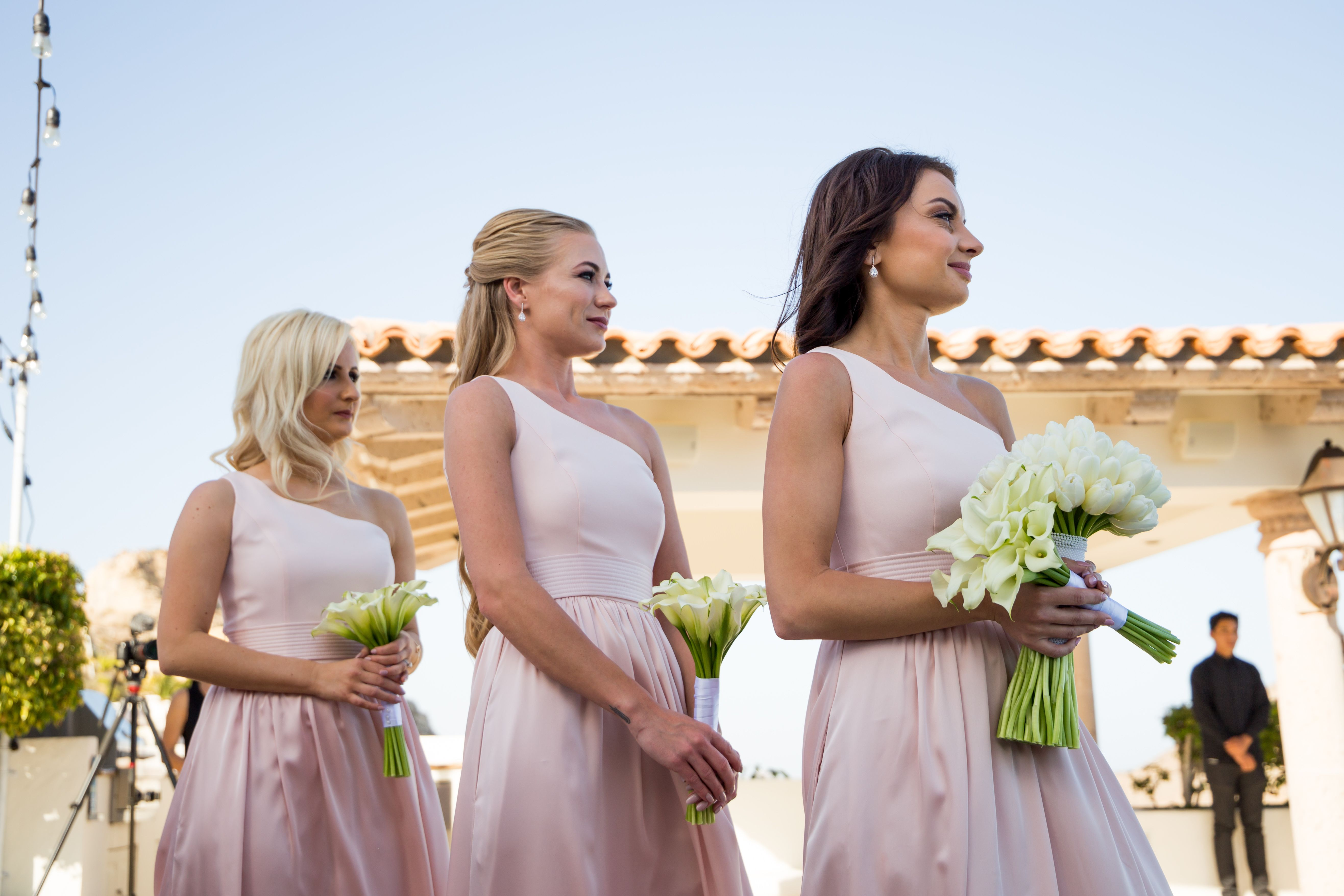 Bridesmaids at ceremony at Villa la Roca Pedregal