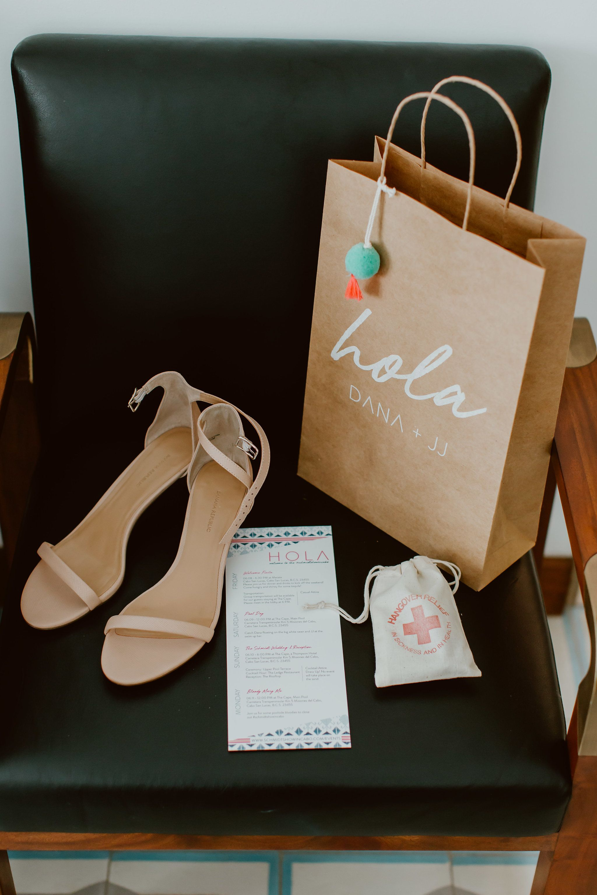 Wedding shoes , Wedding Program, Hangover Kit and Welcome Bag for Brides guests during their wedding day in Cabo San Lucas Mexico, at The Cape