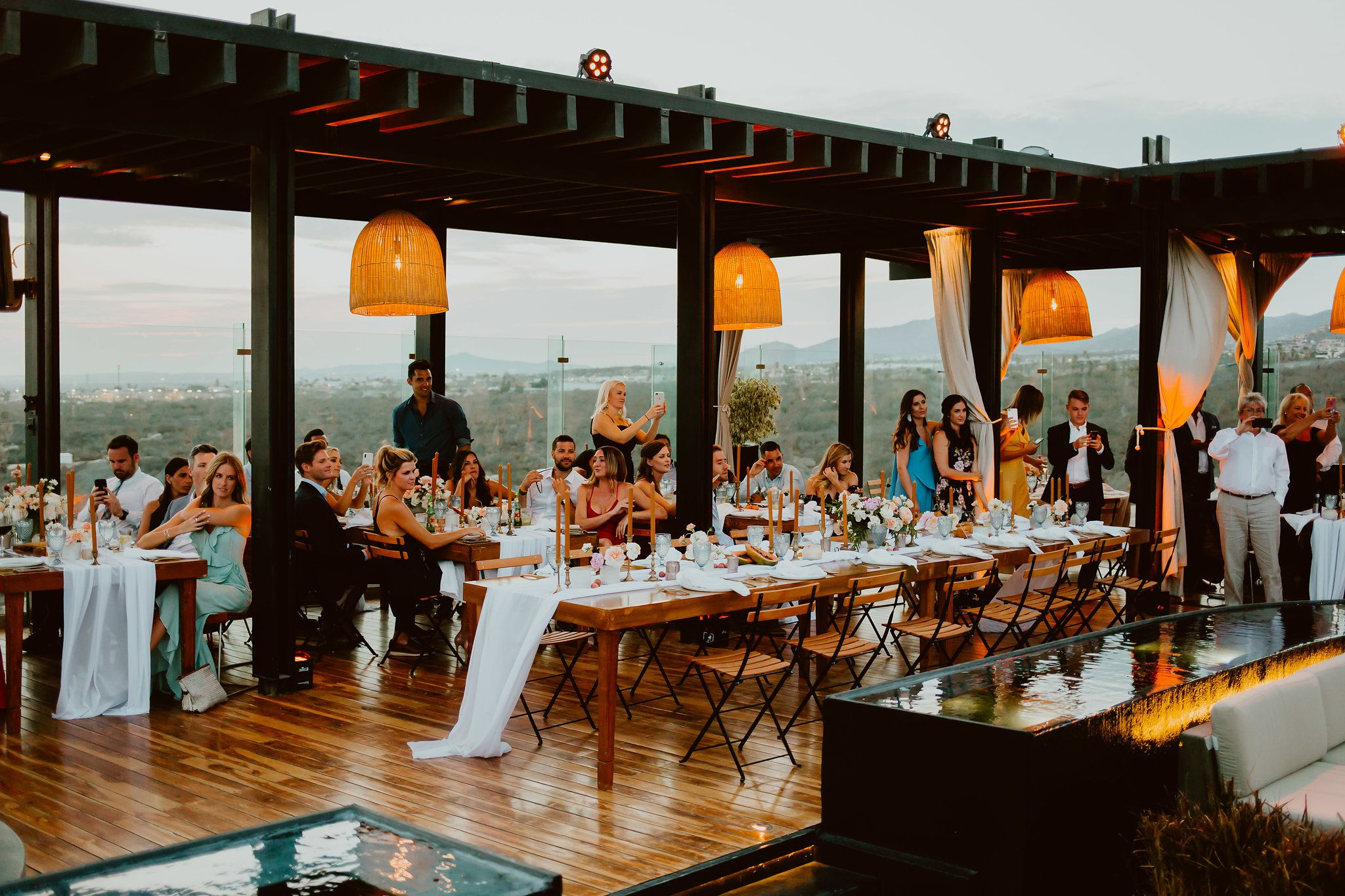 Bridal Table setup at the rooftop by the Cape from Thompson Hotels in Los Cabos Mexico. Design by Lola from Florenta and Wedding Planning by Cabo Wedding Services