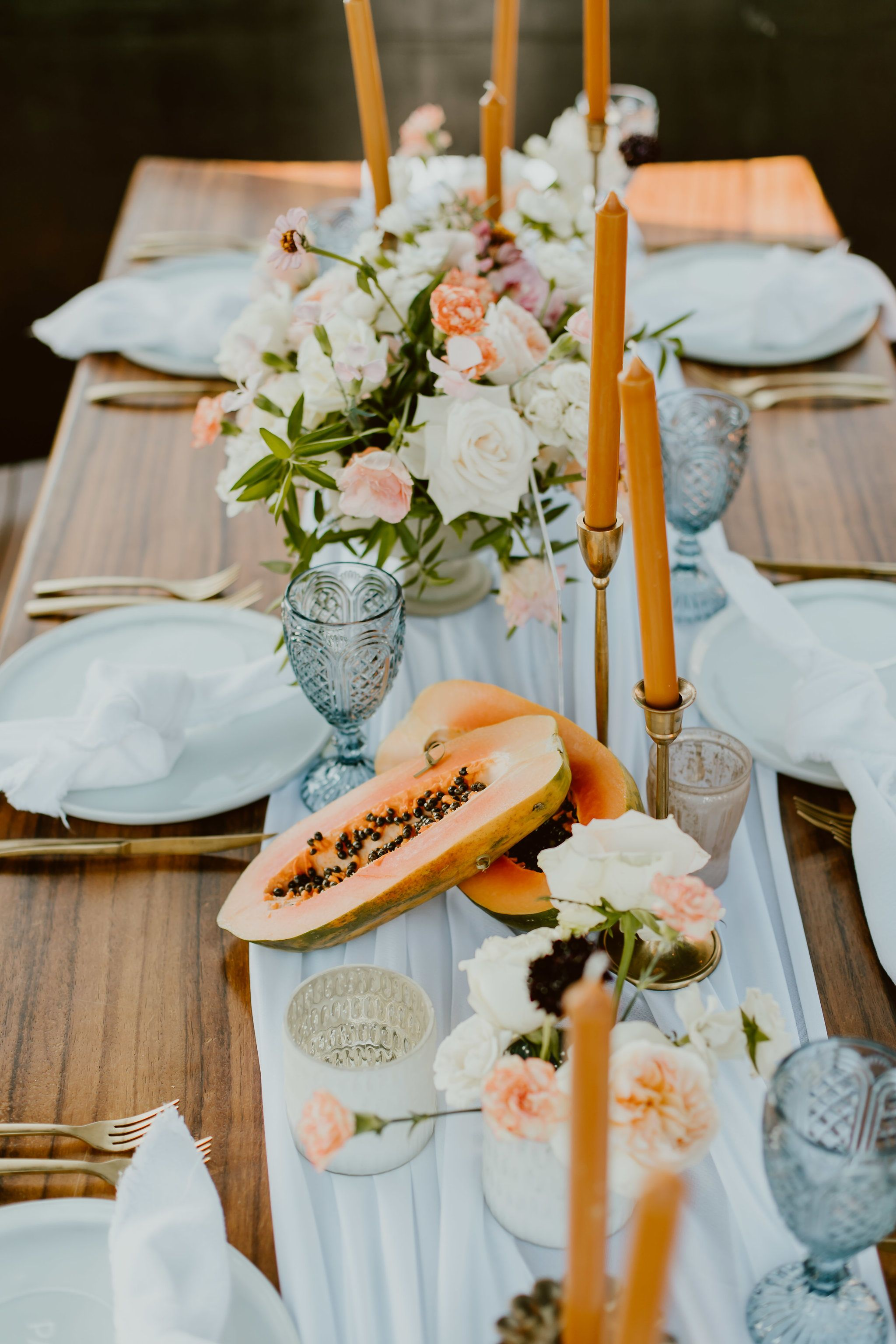 Another photo by Ana and Jerome Photography of the Wedding Table design at The Rooftop at The Cape by Thompson Hotels in Cabo San Lucas Mexico. Wedding Planning by Cabo Wedding Services. Wedding Design by Lola from Florenta