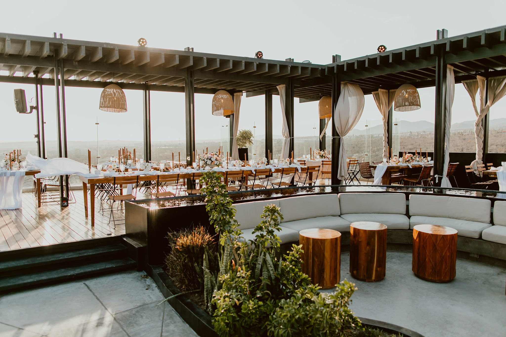 Overall view from the Wedding at The Rooftop at The Cape by Thompson Hotels. Photography by Ana and Jerome. Wedding Planning by Cabo Wedding Services. Wedding design by Lola from Florenta.