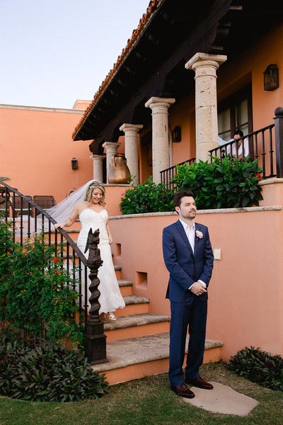 Bride and Groom doing First Look at Wedding Venue Cabo del Sol in Cabo San Lucas, Mexico. It is a great Wedding Destination, from Small to large weddings, Los Cabos does them all.