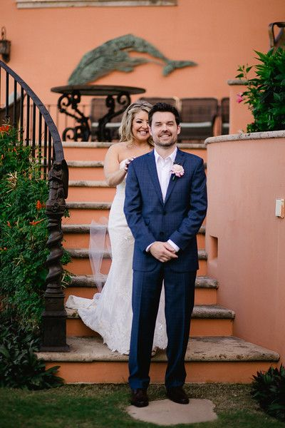 Bride and Groom seeing each other for the first time before their Wedding Ceremony at Cabo del Sol in Cabo san Lucas, Mexico. Wedding planning by Cabo Wedding Services
