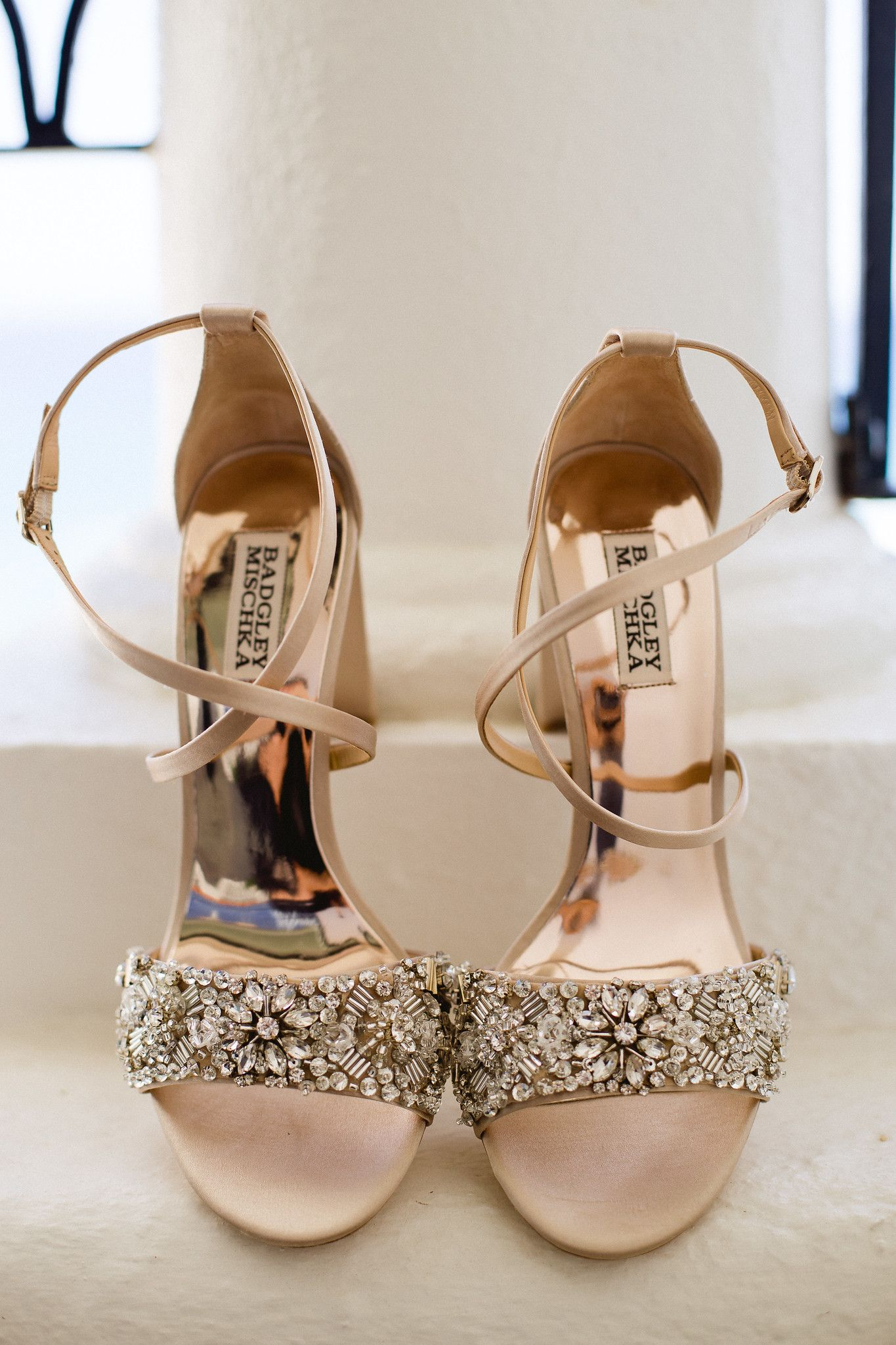 Brides shoes that were from amazing designer Badgley Mischka. They were a bronze color, with sparkle. The perfect wedding shoes to wear on such an important day!
