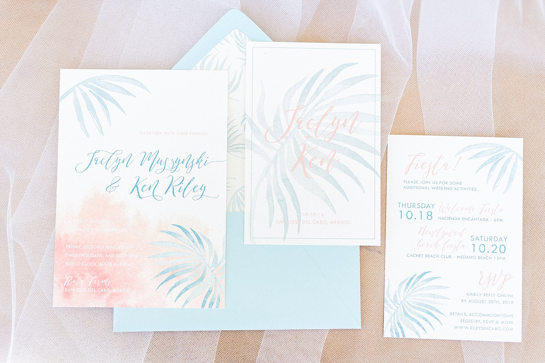 Wedding invitation for Wedding in Cabo San Lucas Mexico. The wedding was at Flora Farms and the Wedding Planners are Cabo Wedding Services with Jesse Wolff