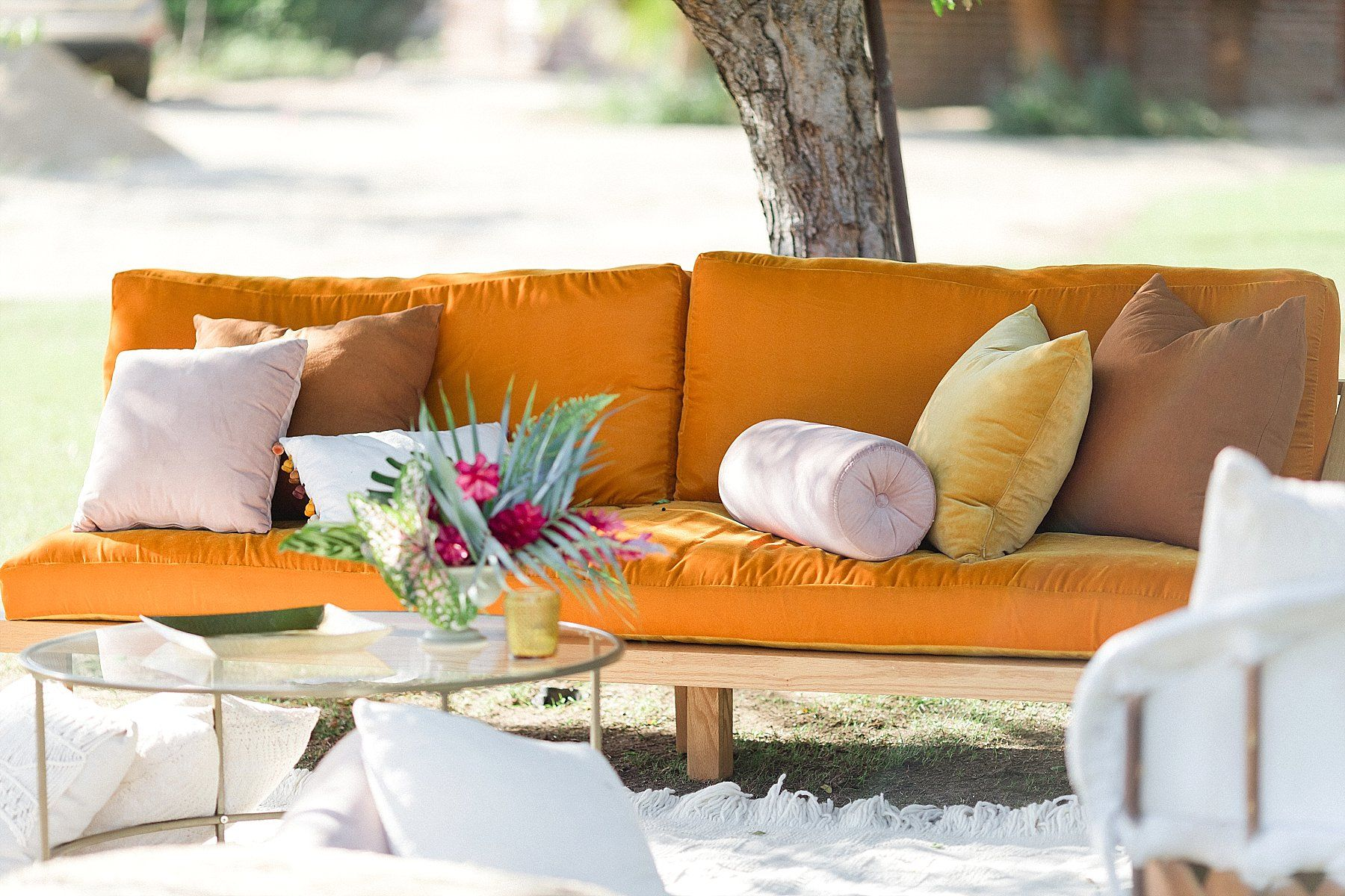 Couch setup at Flora Farms in Cabo San Lucas, Mexico. Destination Wedding Planning by Cabo Wedding Services. Photography by Sara Richardson
