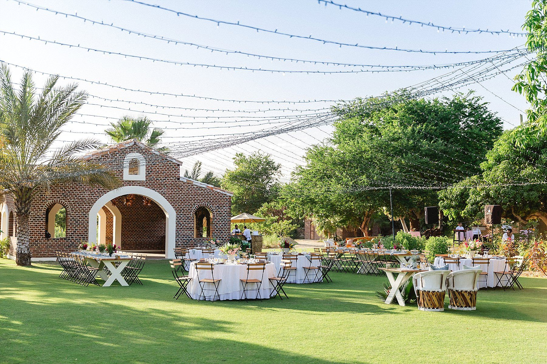 Wedding set-up at Flora Farms in Los Cabos Mexico. Wedding Planning by Cabo Wedding Services and Photography was done by Sara Richardson Photo. Rentals were by Let it Be Events and Florals with Designs was done by Lola from Florenta.