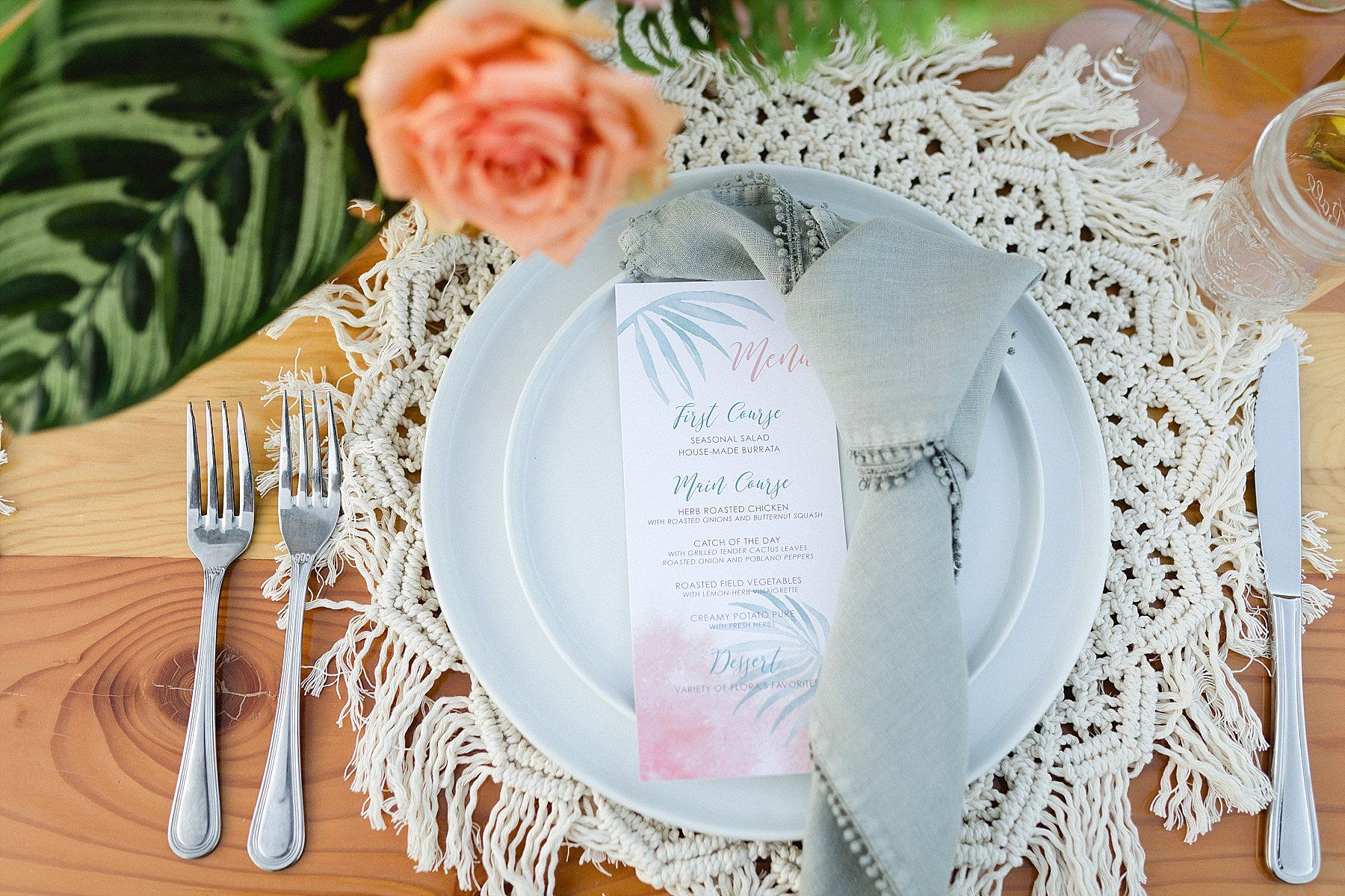 Table Setting at Destination Wedding at Flora Farms, in Cabo San Lucas, Mexico. Wedding Planning by Cabo Wedding Services and Photography by Sara Richardson Photography