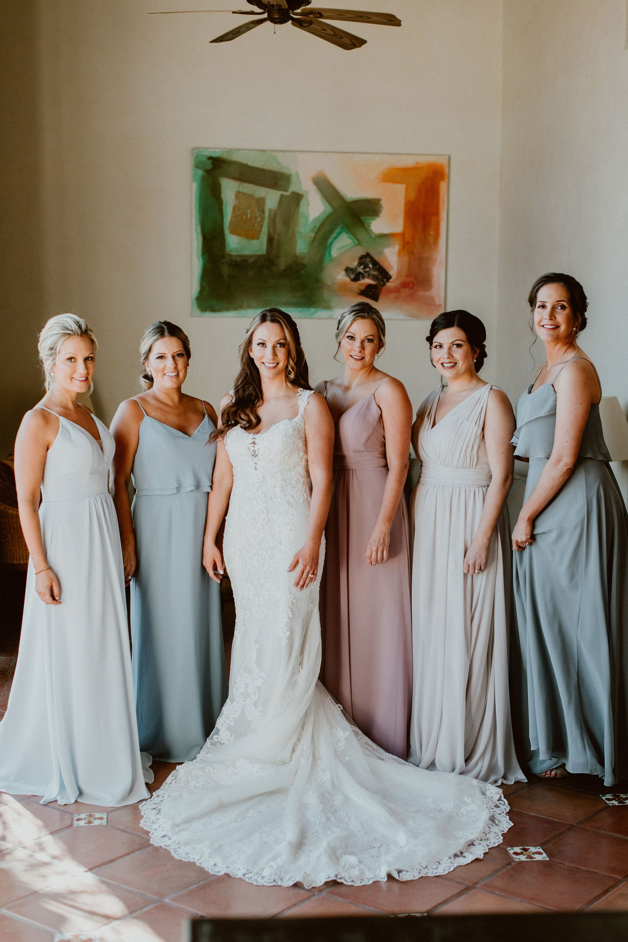 Jen and her Bridesmaids ready to go do the First Look. Their wedding venue was at Cabo del Sol and us, Cabo Wedding Services, were there Wedding Planners. They hired Ana and Jerome from Ana and Jerome Photography, as well as Emporio, for their floral and decor.