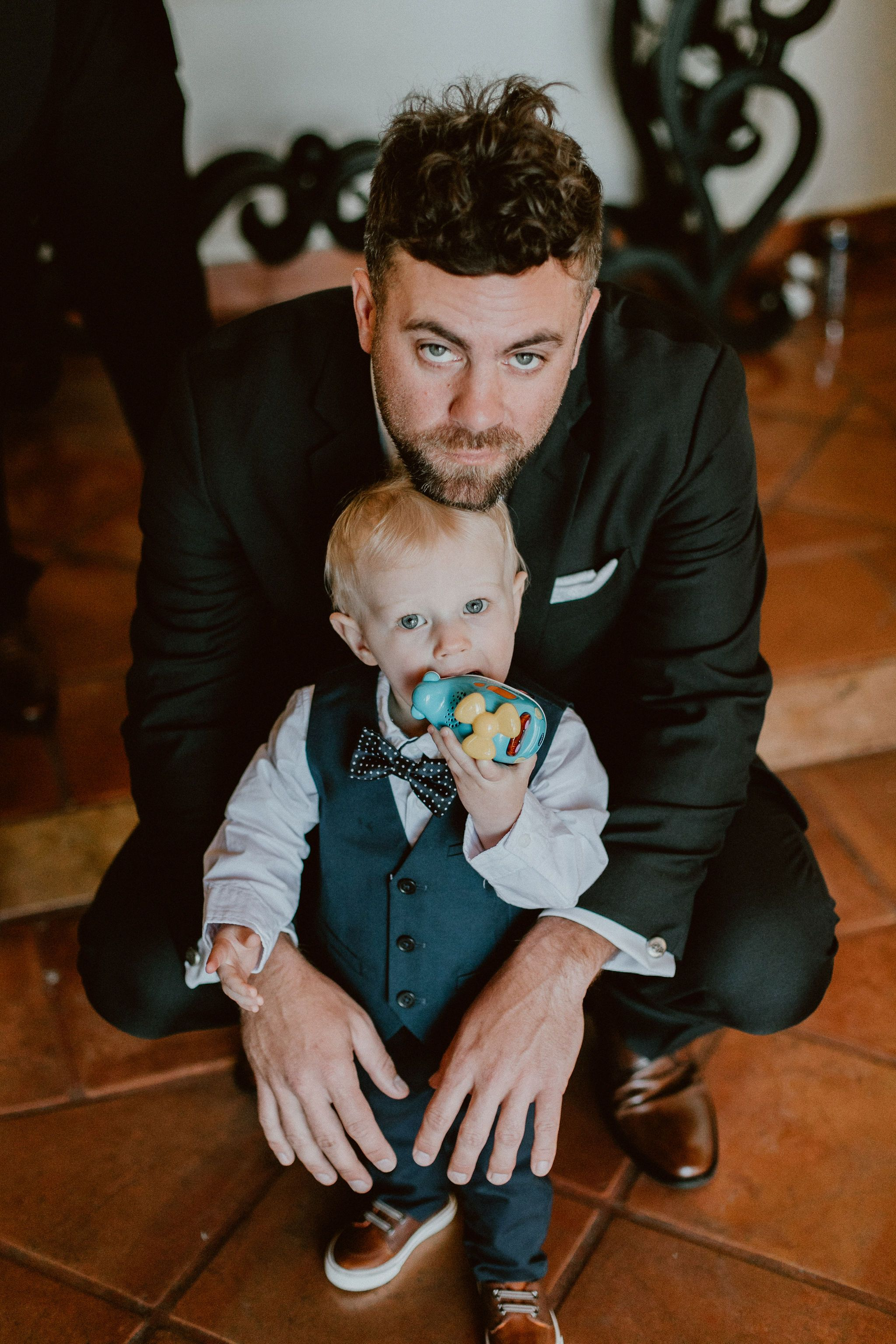 Bride and Grooms son with the Groom's Best Man, Matthew. Ryker was the cutest little ring bearer ever.
