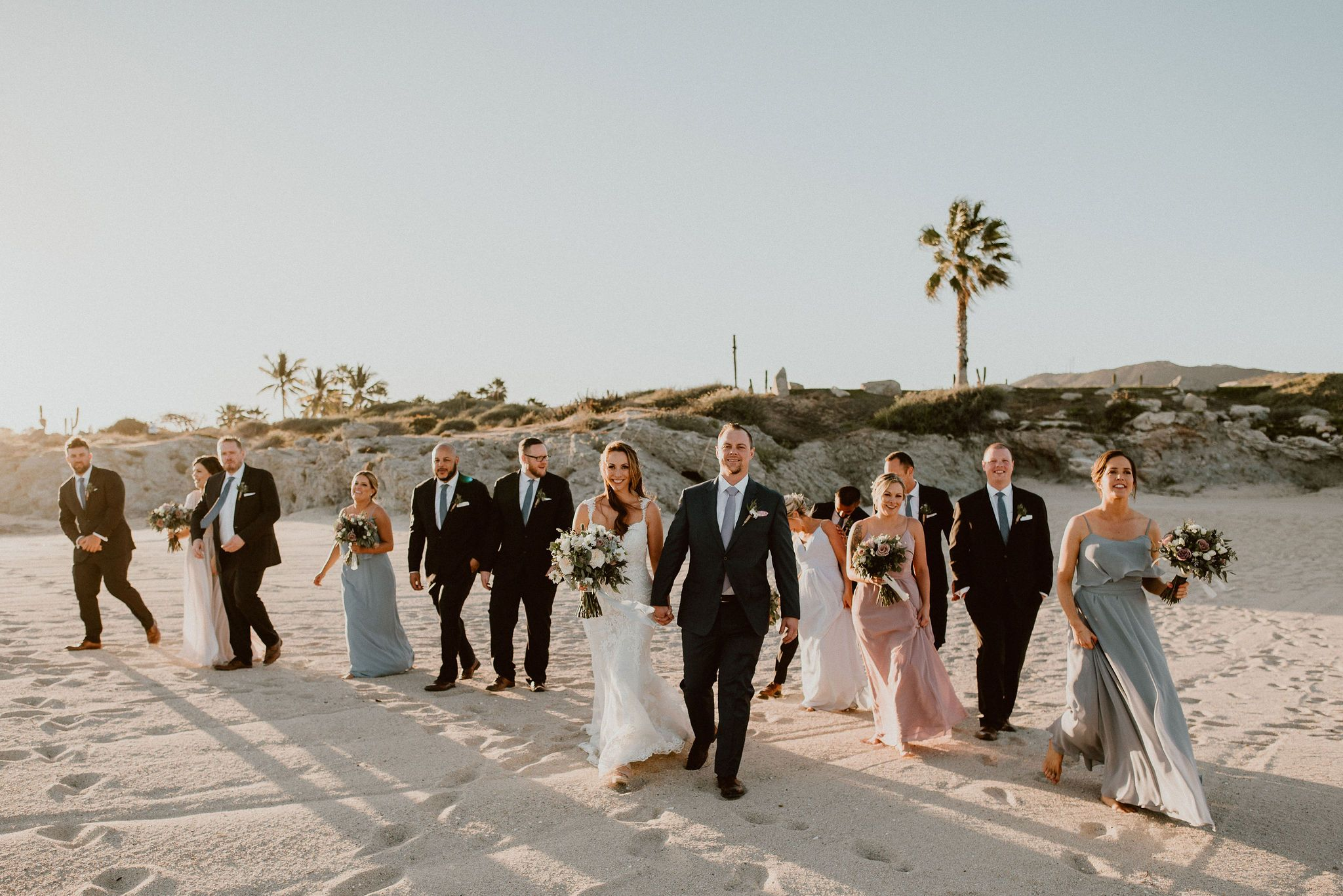 Full Bridal Party at Destination Wedding in Los Cabos Mexico. Wedding Planning by Cabo Wedding Services. Wedding Photography by Ana and Jerome in Los Cabos, Mexico