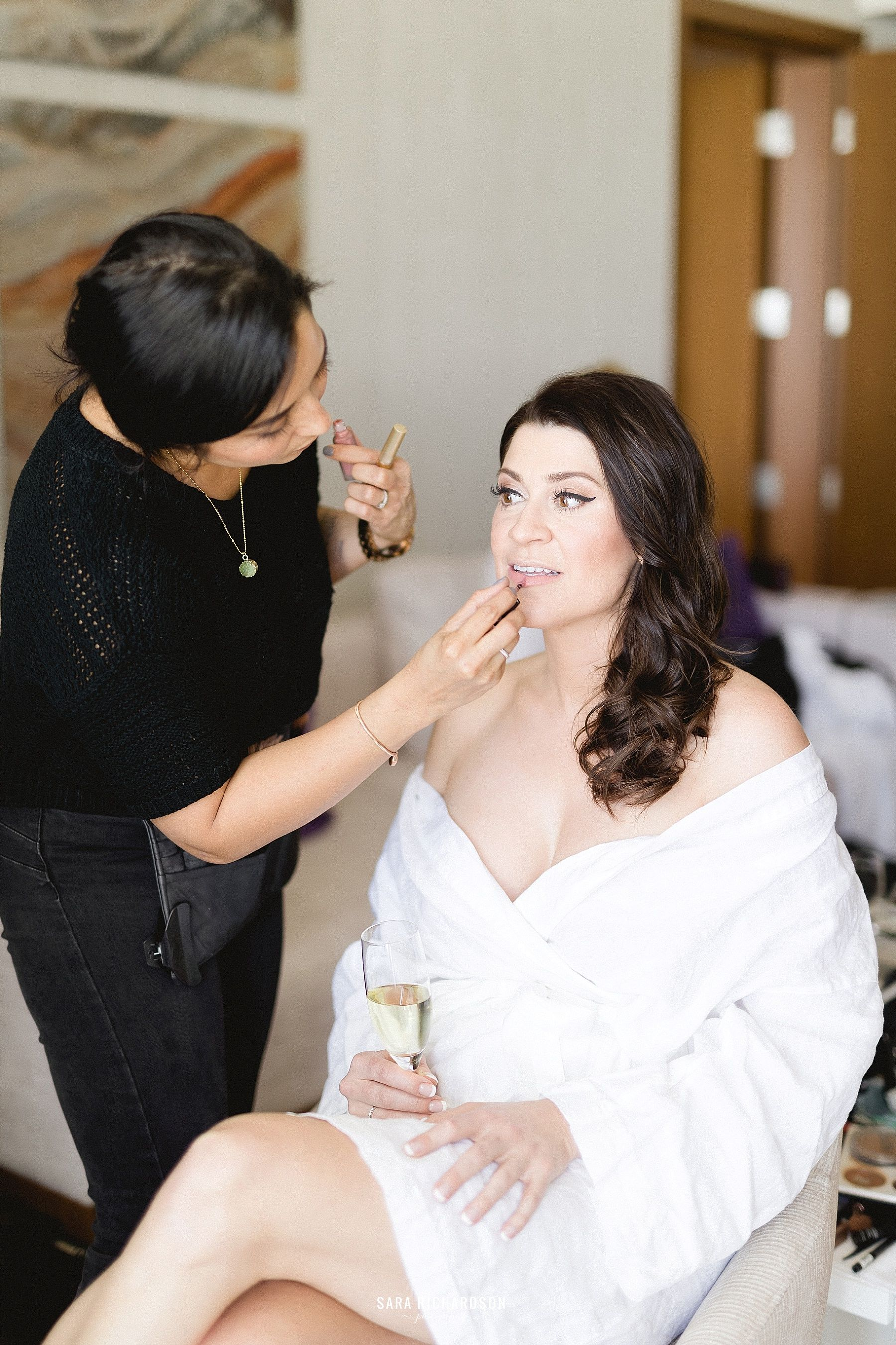 Bri Berliner making sure the Bride looked flawless before her big Ceremony. She looked amazing. The Wedding took place at LeBlanc in Los Cabos Mexico. This is where Sara and Eric tied the knot on their Big Day.