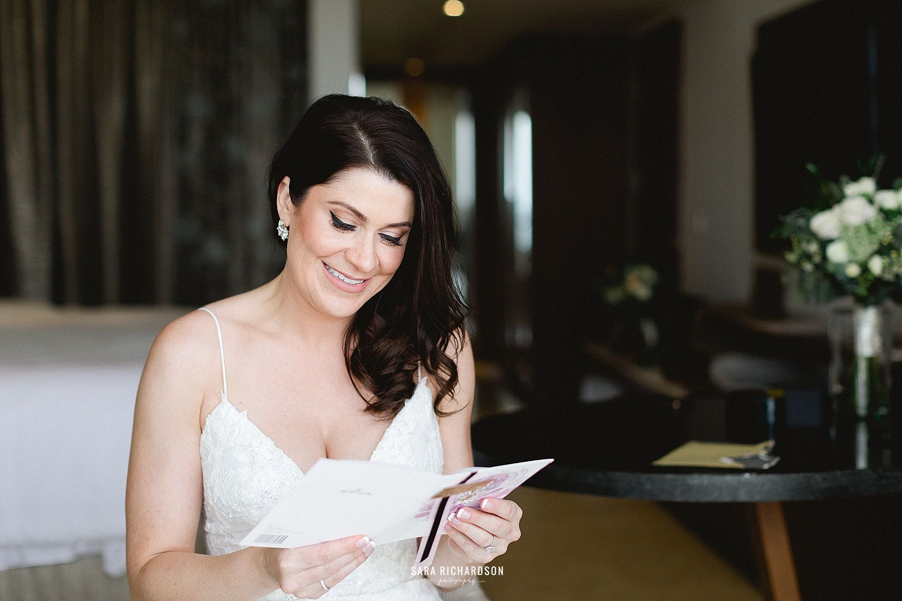 Our bride Sara received a letter from her Husband to be, right before the Ceremony began. Here she is captured reading it, and Sara Richardson was able to capture the perfect shots!