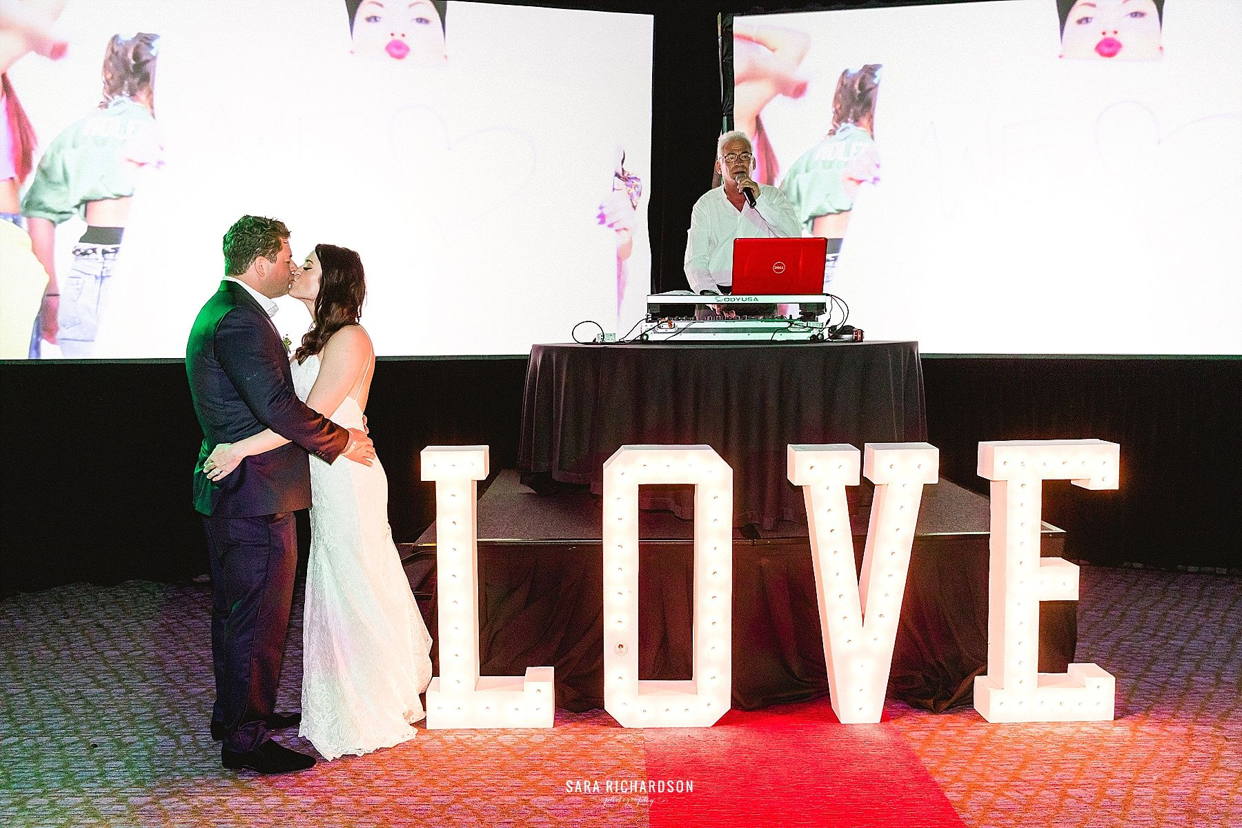 Great DJ and audiovisual set-up for Sara and Eric's Destination Wedding at LeBlanc in Los Cabos Mexico.