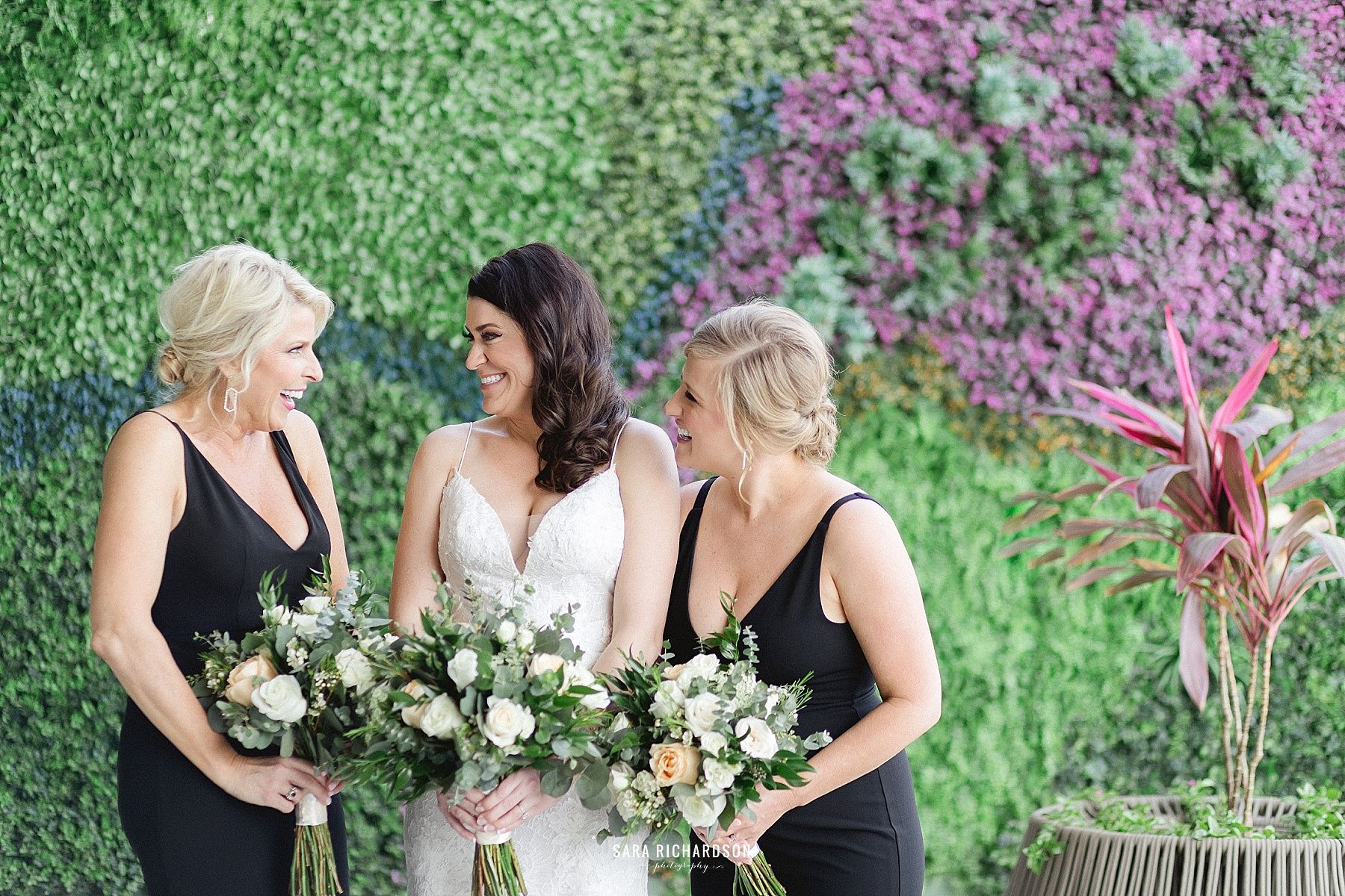 Bride with Bridesmaids having fun at the hotel where her wedding was. The wedding took place at Wedding Venue in Los Cabos, at a Hotel called LeBlanc
