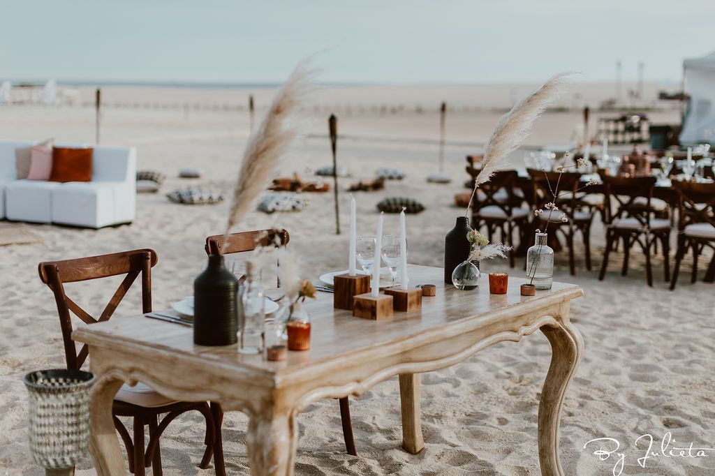 This is the table that the bride and groom sat at during their Sangeet in Los Cabos Mexico. This event took place at the Hilton Los Cabos. It was right on the beach and it was the perfect beginning for an Indian Event filled with weekend festivities.
