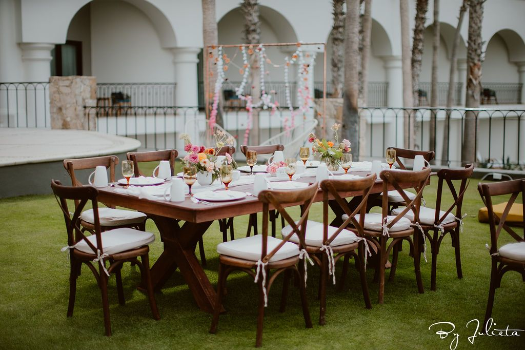 Set-up and design by Cabo Wedding Services during their Haldi Ceremony that was also a brunch for 130 of their family and friends. This event took place at the Hilton Los Cabos.