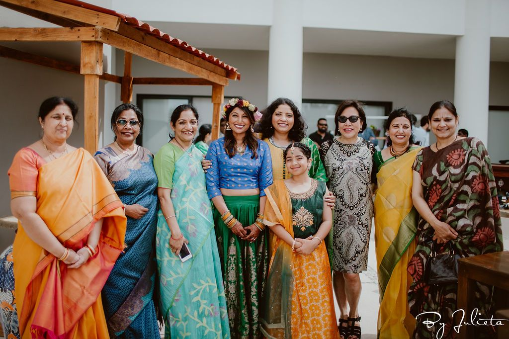 Bride with some of her family and friends before the Haldi ceremony at the Hilton Los Cabos.