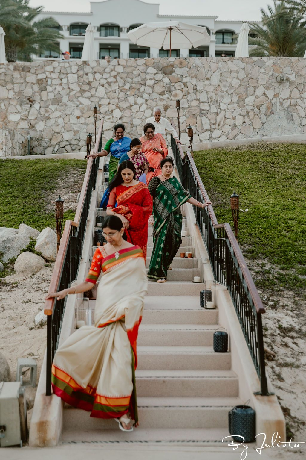 Guests arriving to the Sangeet. It took place on the beach at Hilton Los Cabos, in Cabo San Lucas, Mexico. The Photography was done by Julieta Amezcua and the Wedding Planning was done by Cabo Wedding Services. The best Wedding Planners in Cabo.