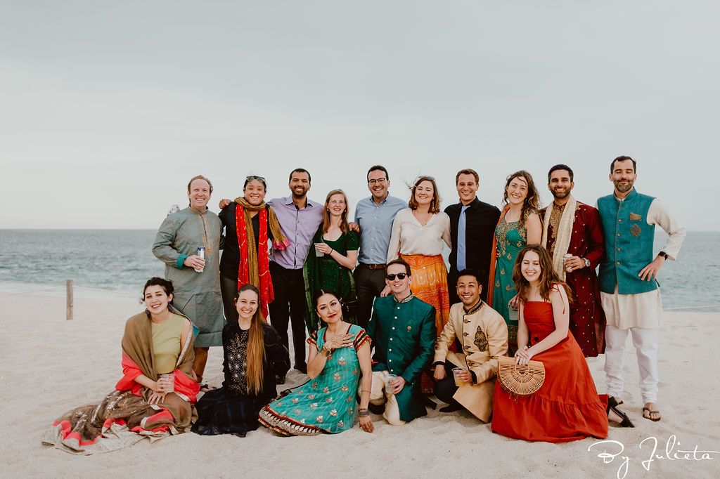 Guests of the Bride and Groom at the Sangeet that took place at Hilton Los Cabos. The Sangeet was right on the beach and the weather was perfect. We did a little bonfire with s'mores and had a great time. Wedding Planning was done by Cabo Wedding Services.