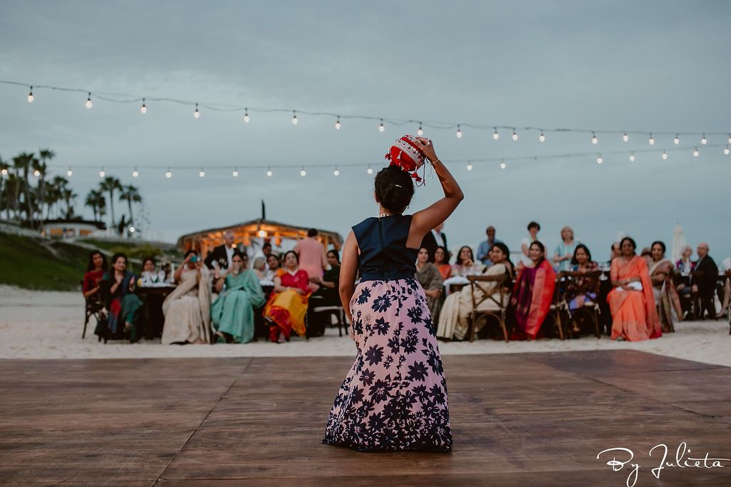 Cousin of the Bride dancing during the Sangeet. The Sangeet took place at the Hilton Los Cabos, right on the beach. With 130 friends and family, Anusha and David were able to celebrate their beautiful wedding. Cabo Wedding Services did the Wedding Planning.