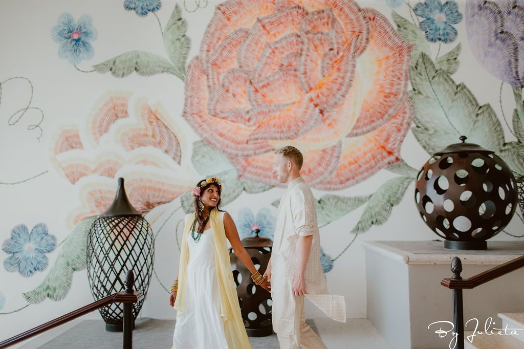 Bride and Groom did a pre photo session before their Haldi Ceremony around the Hilton Los Cabos. They had so much phone taking beautiful photo's by the amazing photographer Julieta Amezcua. Wedding Planning was done by Cabo Wedding Services.