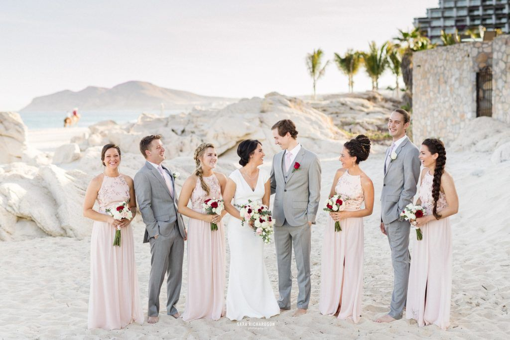 Wedding Party hanging out at their Destination Wedding in Los Cabos Mexico