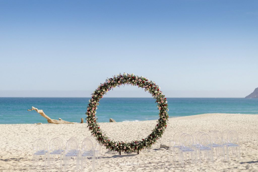 Ceremony alter on the beach in front of the Sea of Cortez Ocean. It was such a beautiful day, the weather was perfect and the skies were blue. Perfect for a Destination Wedding in Los Cabos Mexico