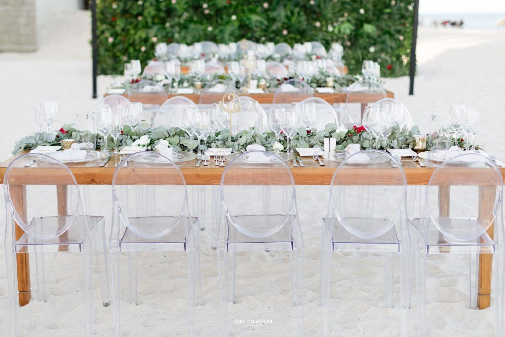 Table setting at a Beach wedding in Los Cabos Mexico. Wedding was planned by Cabo Wedding Services and the photography was done by Sara Richardson Photo.
