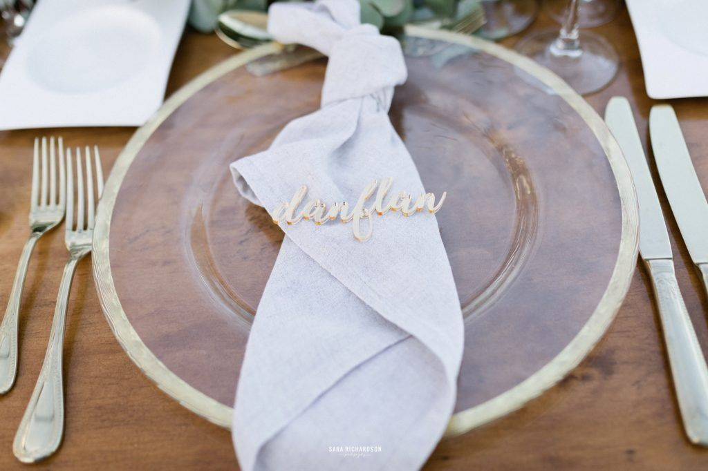 Table setting at Beach wedding in Los Cabos Mexico
