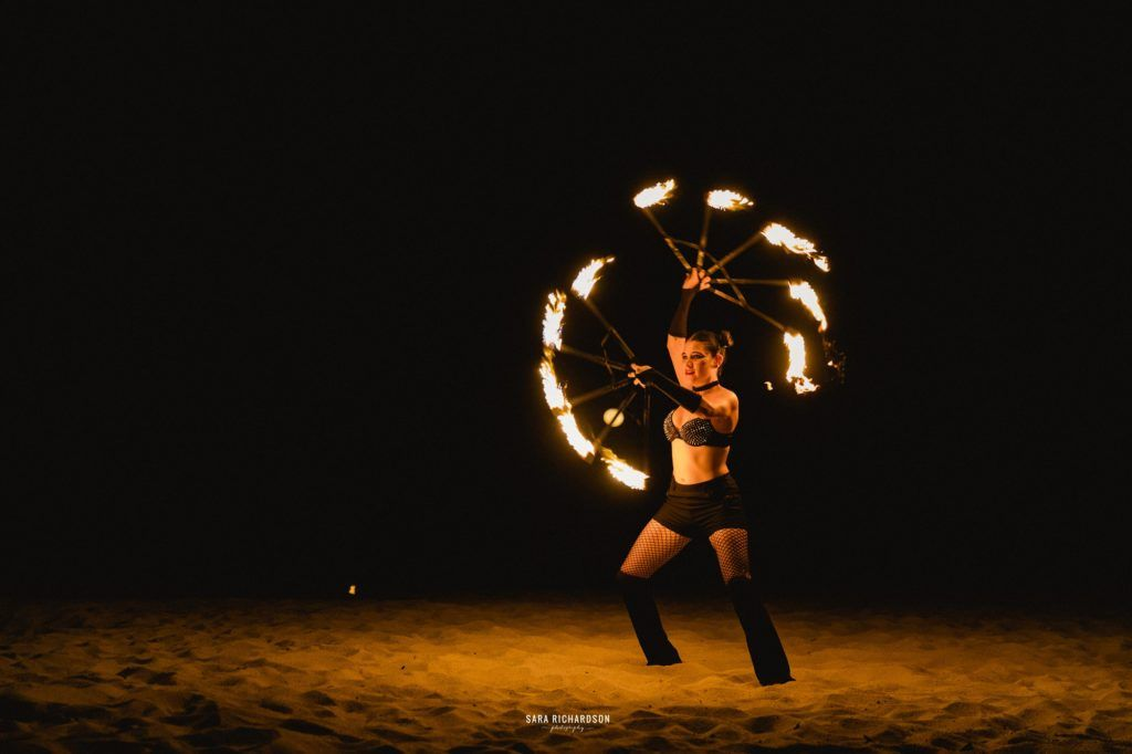 Fire dancers doing a show at Destination Wedding in Los Cabos, Mexico