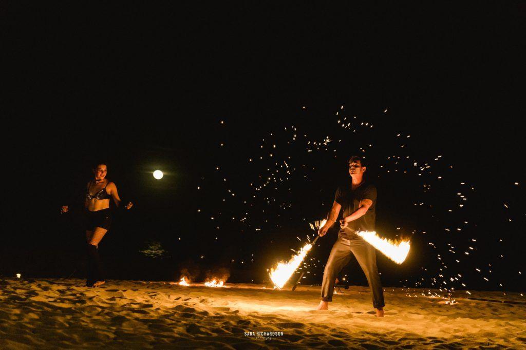 Fire dancers in Los Cabos Mexico, at a Destination Wedding in Private Villa in Los Cabos